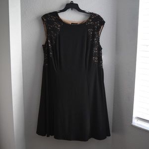 Solid Black Sleeveless Dress Size 20w Lace Sequin
